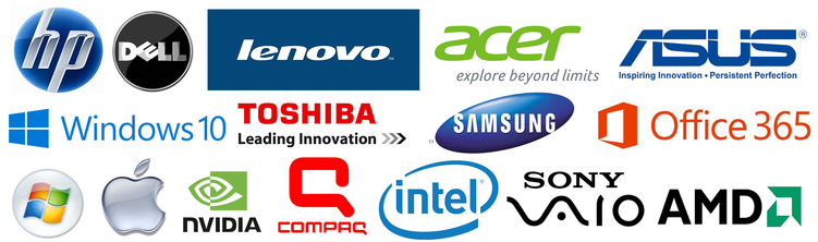 HP, Dell, Lenovo, Acer, Asus, Windows, Toshiba, Samsung, Office 365, Apple, Mac, Nvidia, Compaq, Intel, Sony, AMD